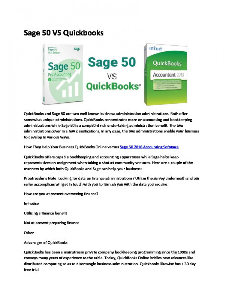 Sage 50 Vs Quickbooks Infographic