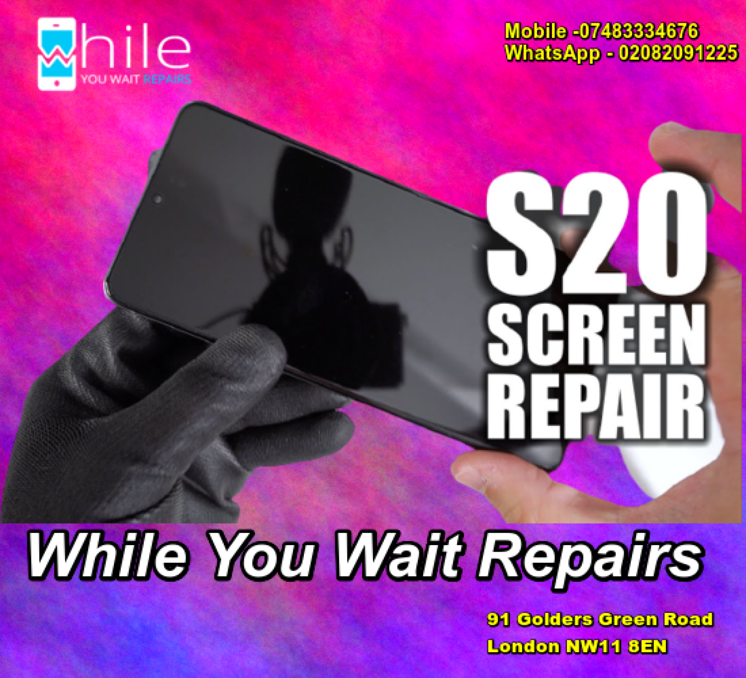 Same Day Galaxy S20 Screen repair Service London Infographic