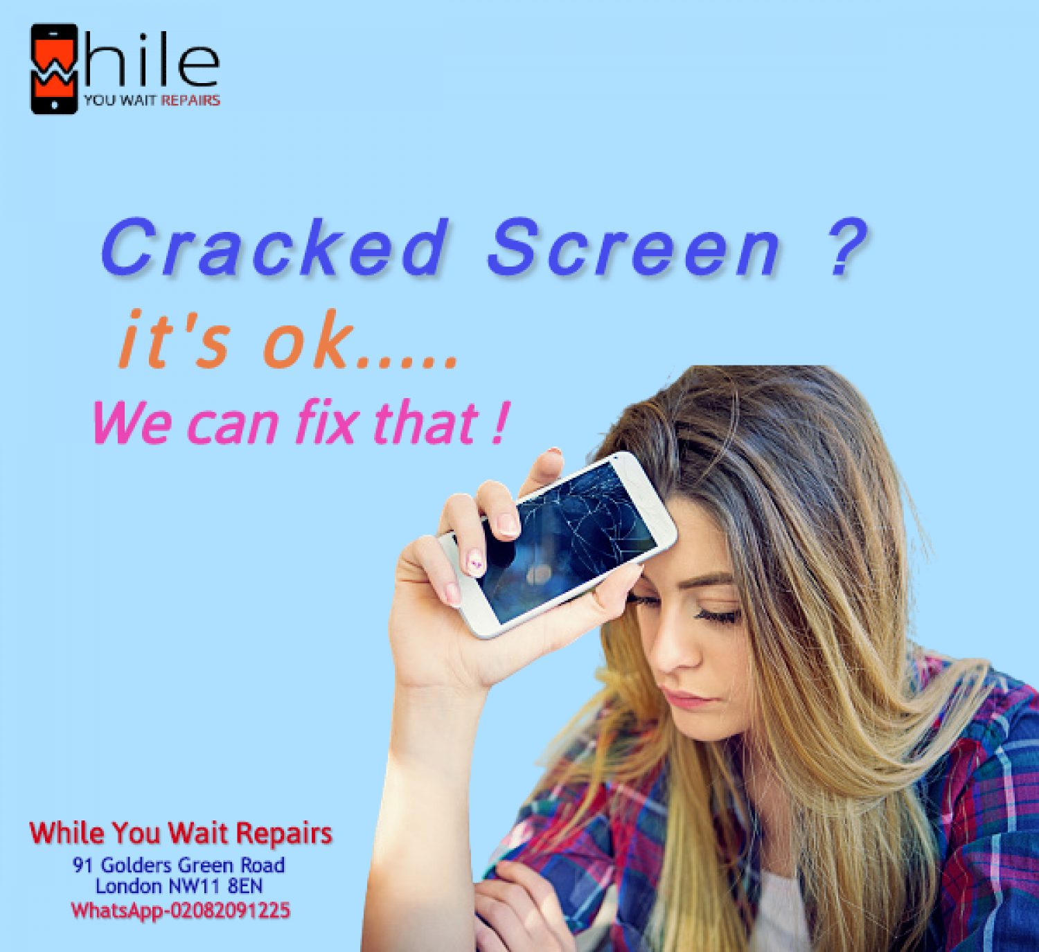 Same Day Mobile Phone Faulty Screen Replacement London Infographic