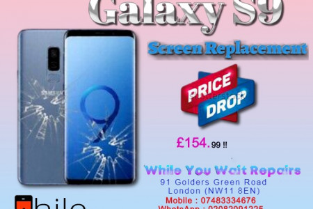 Same Day Samsung Galaxy S9 Cracked LCD Screen Repairs London Infographic