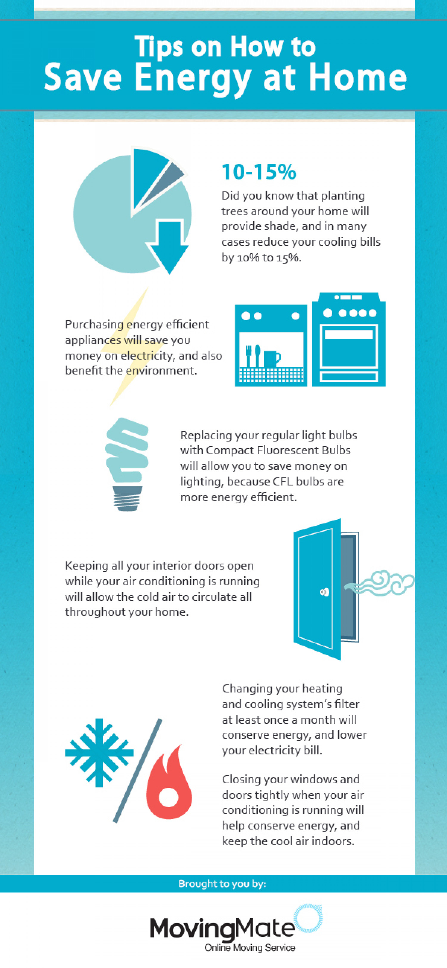 Tips on How to Save Energy at Home Infographic