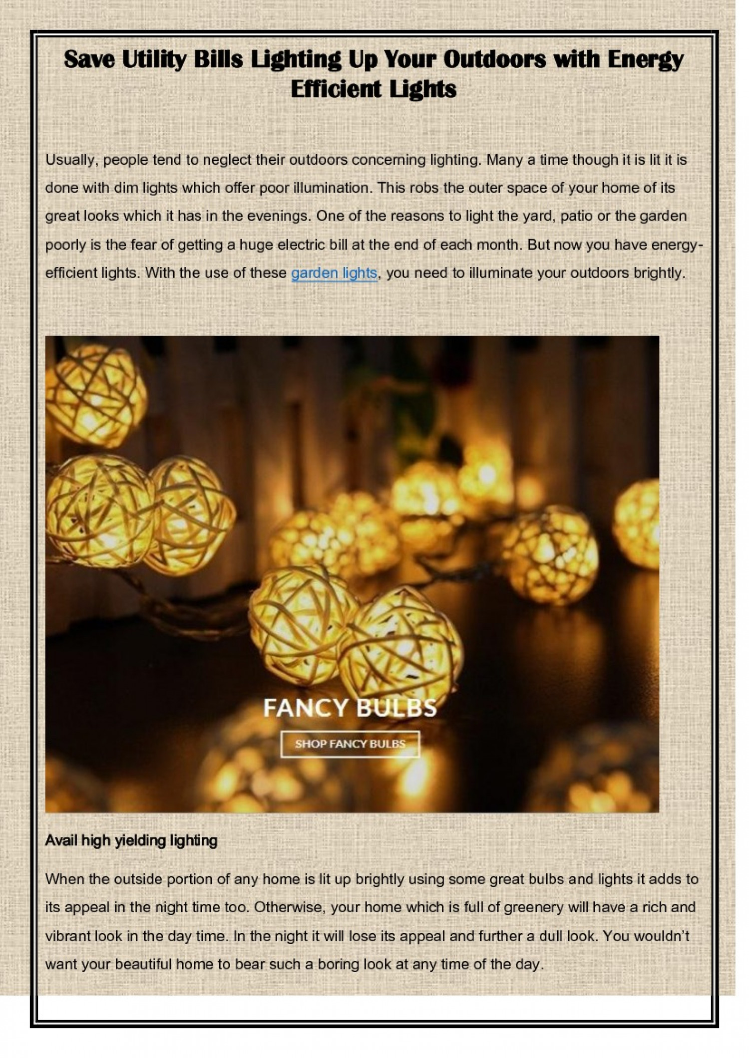 Save Utility Bills Lighting Up Your Outdoors with Energy Efficient Lights Infographic