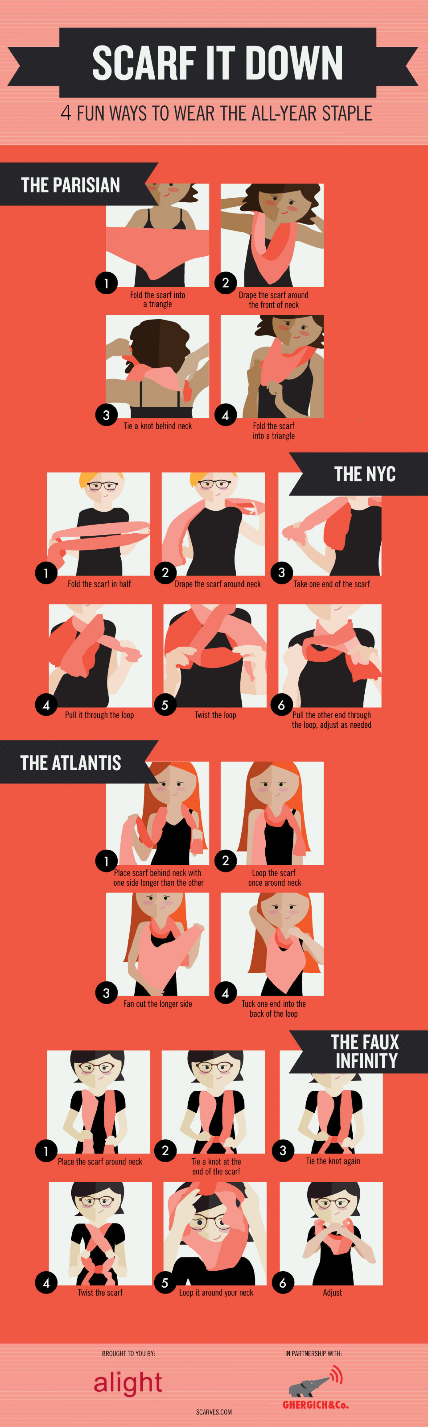 Scarf it Down: 4 Fun Ways to Wear the All-Year Staple Infographic