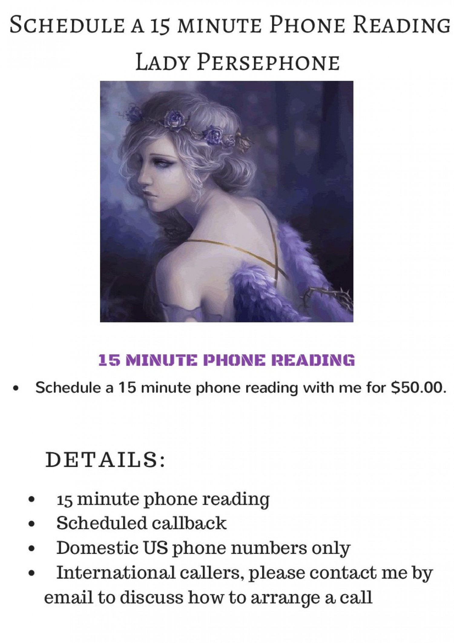 Schedule a 15 minute Phone Reading - Lady Persephone Infographic