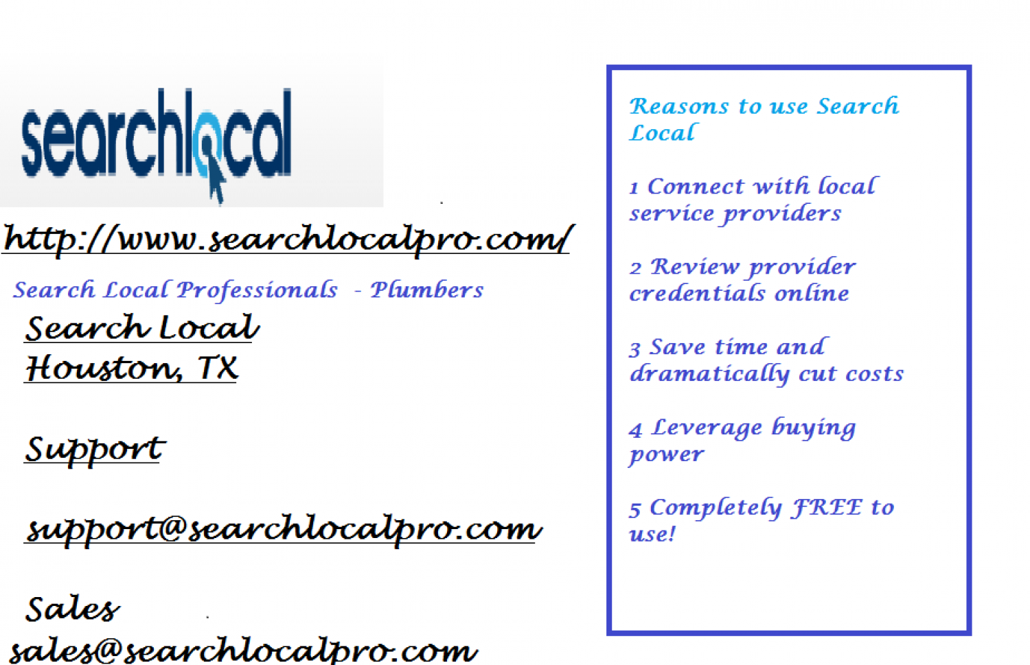 Search Local Professionals  - www.searchlocalpro.com Infographic