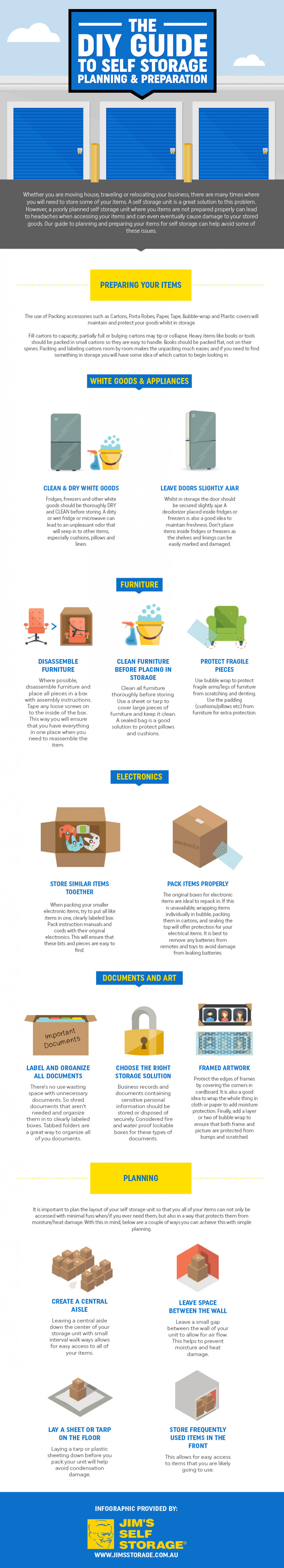 Self storage Guide: Planning and Preperation Infographic