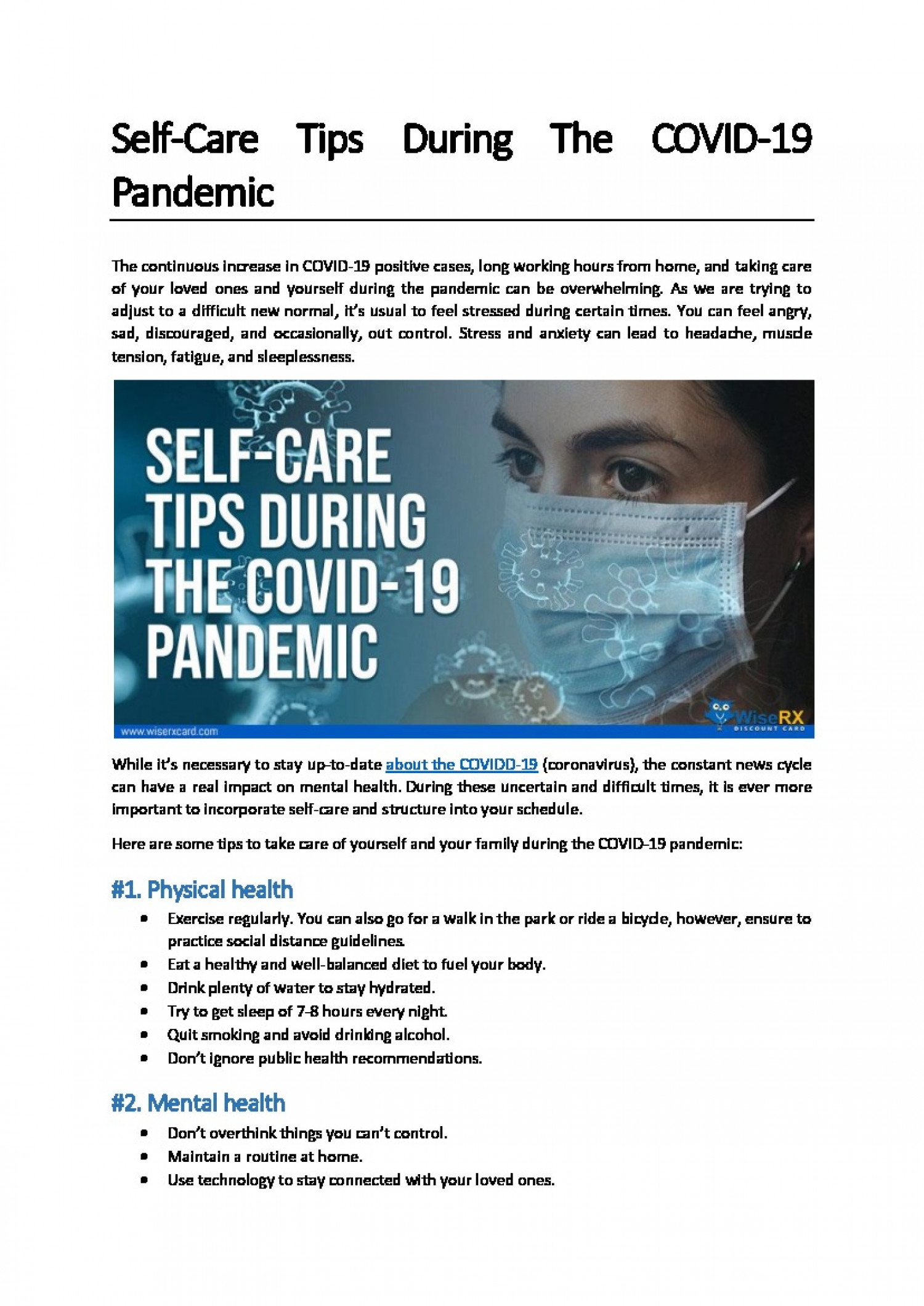 Self-Care Tips During The Covid-19 Pandemic Infographic