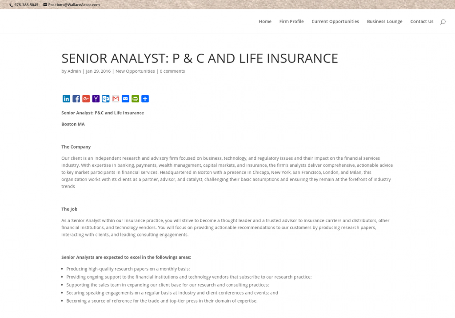 SENIOR ANALYST: P and C AND LIFE INSURANCE Infographic