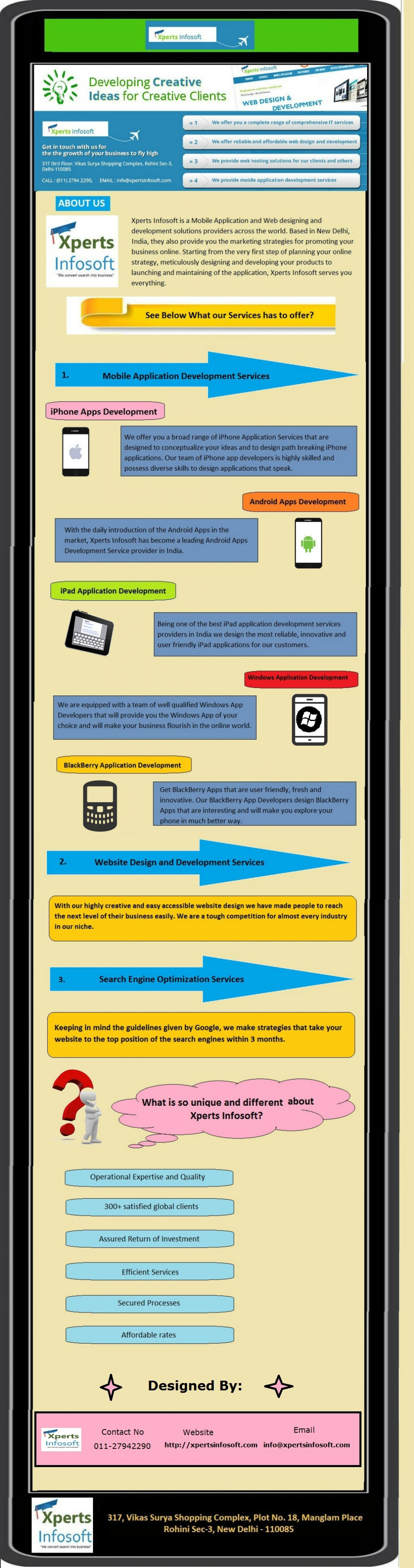 Services to enjoy with Xperts Infosoft Infographic