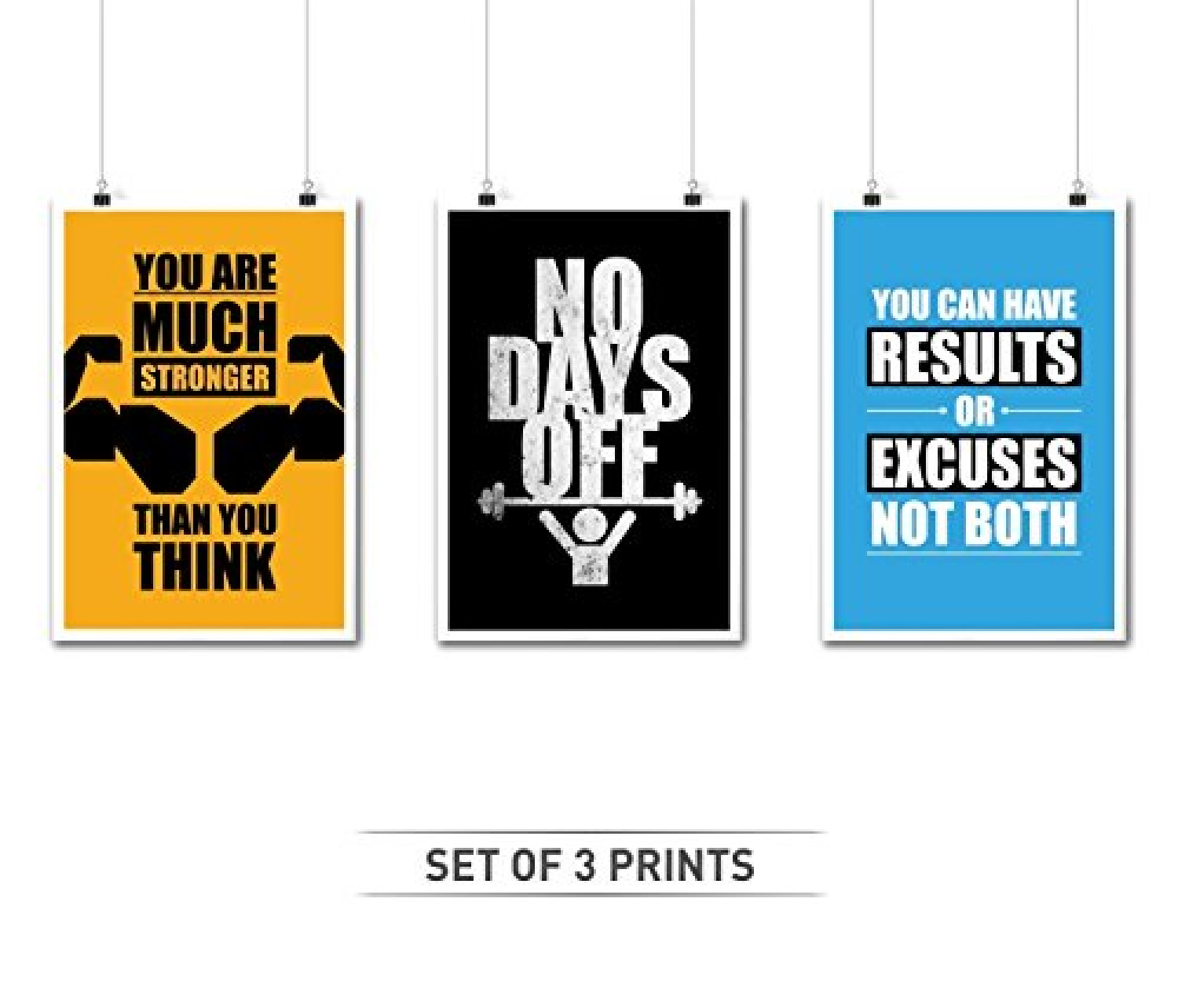 Set of Three Gym and Fitness Typography Quotes Infographic
