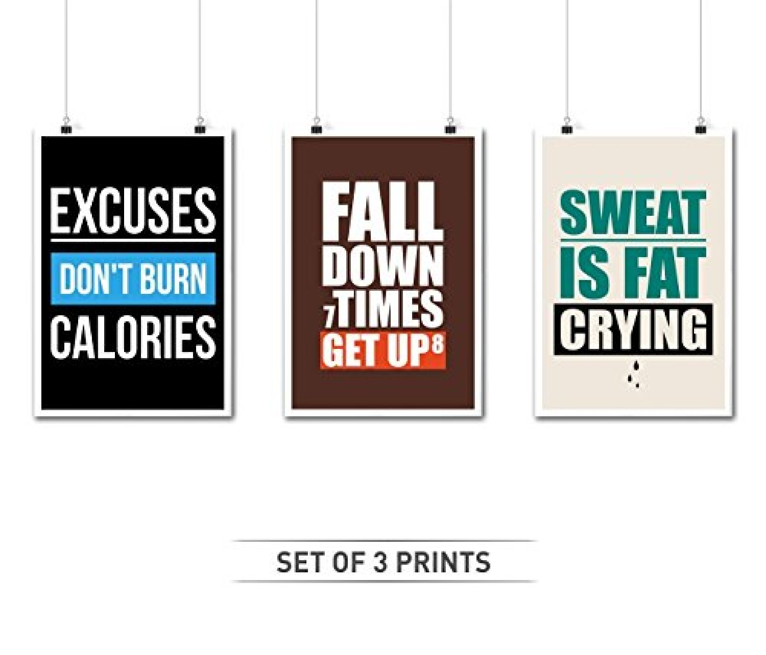 Set of Three Gym Quotes Who Inspire Our Fitness Infographic