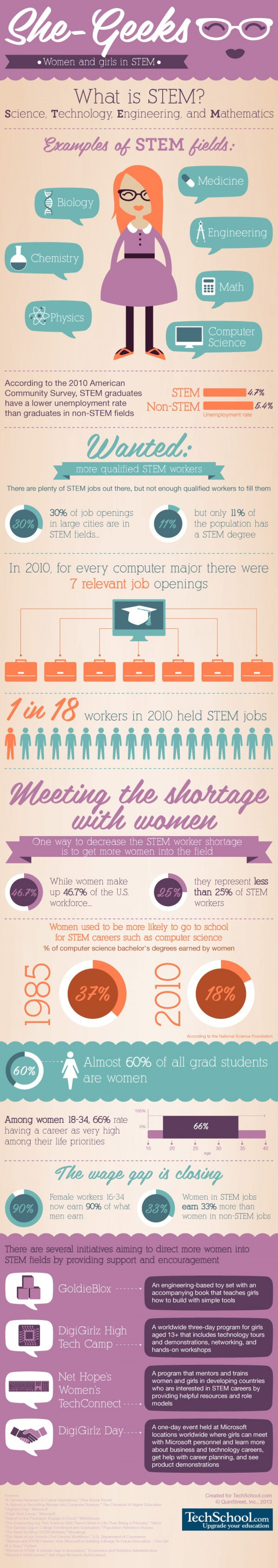 She Geeks: A Look at Women in STEM Careers Infographic