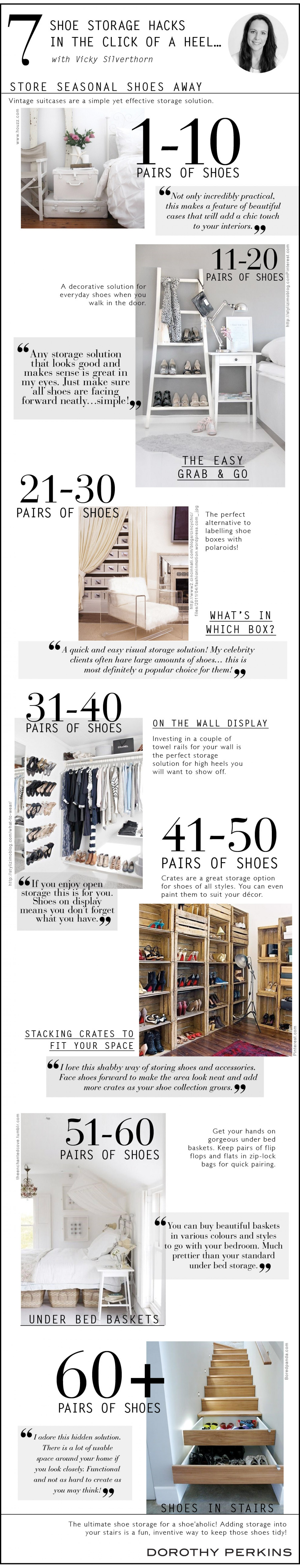 SHOE STORAGE HACKS IN THE CLICK OF A HEEL… WITH VICKY SILVERTHORN Infographic