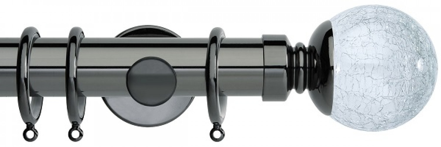 Shop Now! Neo Style 35mm Crackled Glass Black Nickel Curtain Pole Infographic