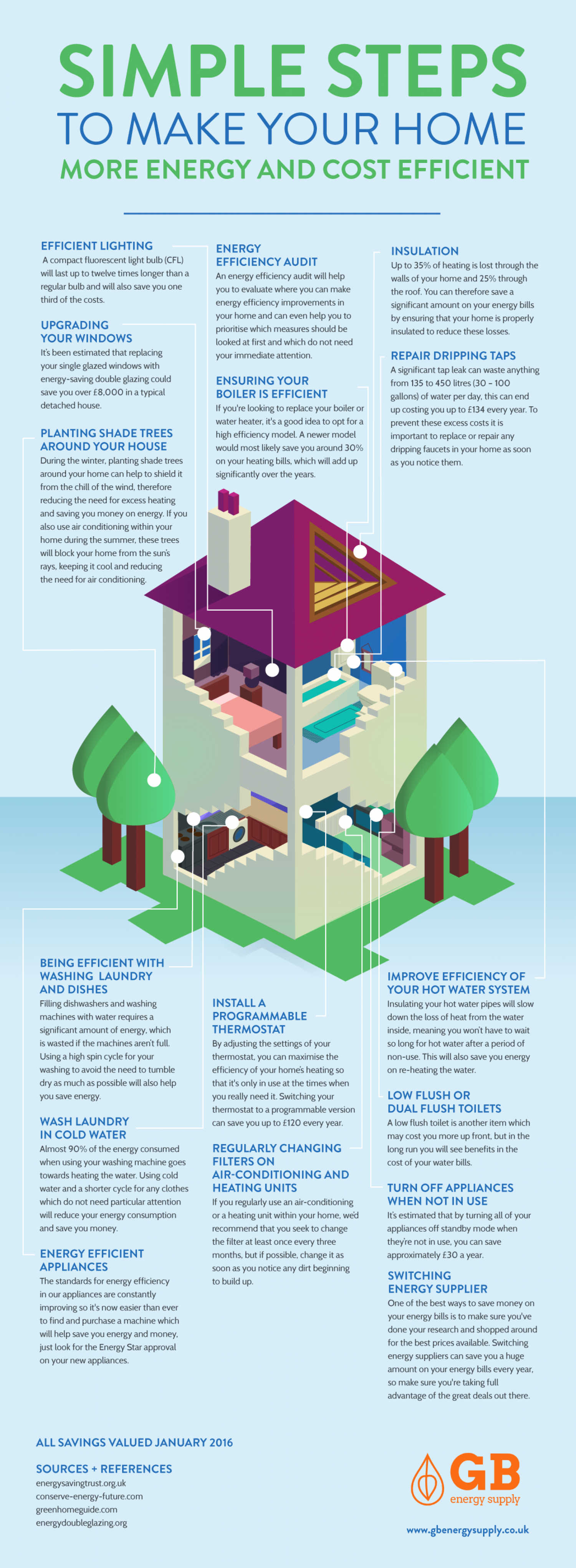 Simple Steps to make your Home More Energy Efficient Infographic