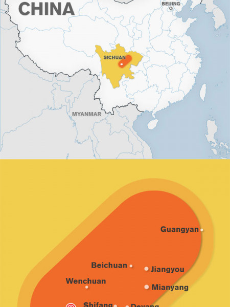 Sitchuan Earthquake Map Infographic