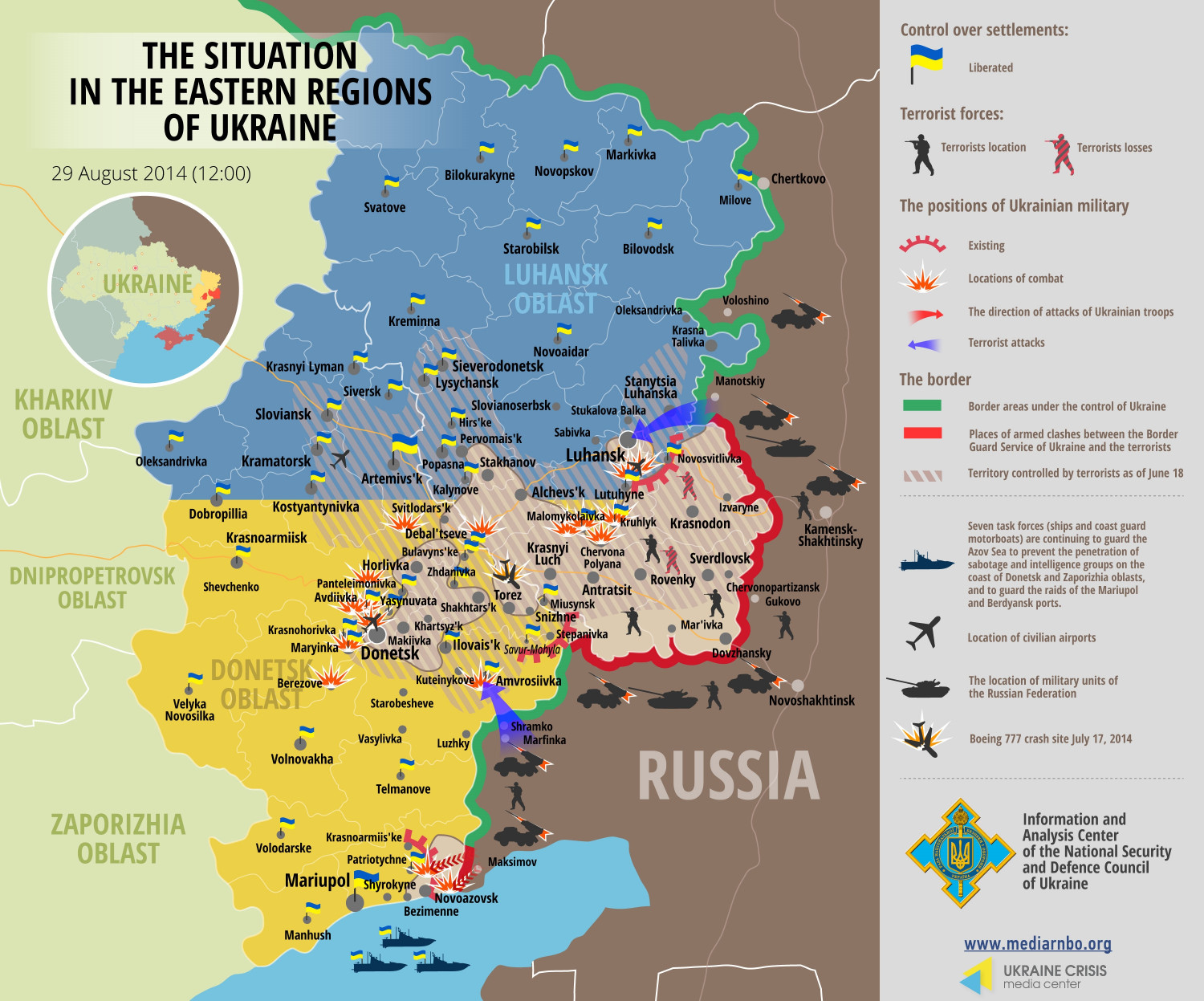 Situation in Eastern Regions of Ukraine, August 29 Infographic