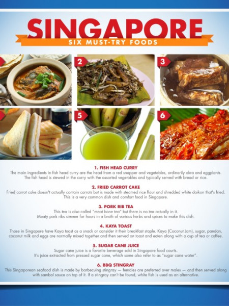 Singapore Six Must Try Foods Infographic