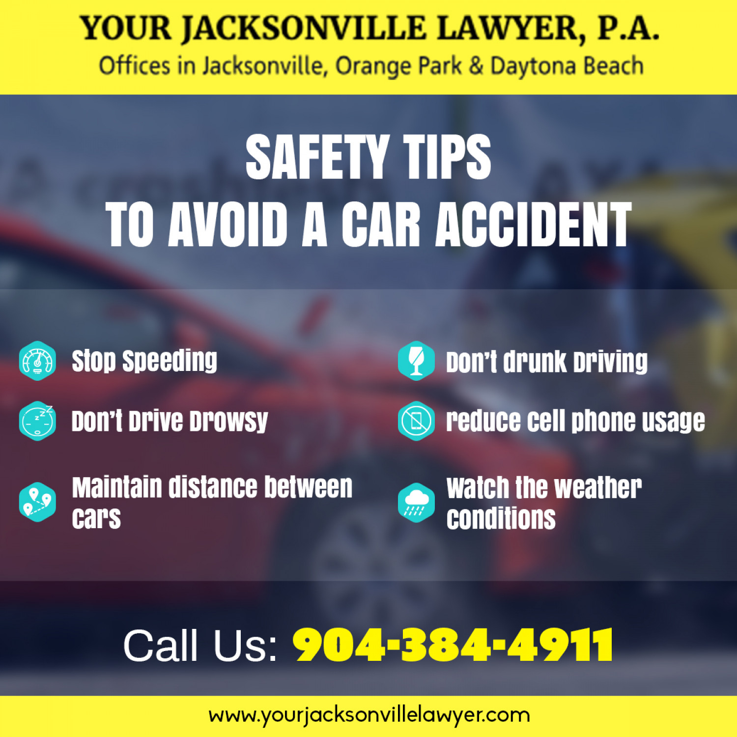 six safety Tips on How to Avoid a Car Accident Infographic