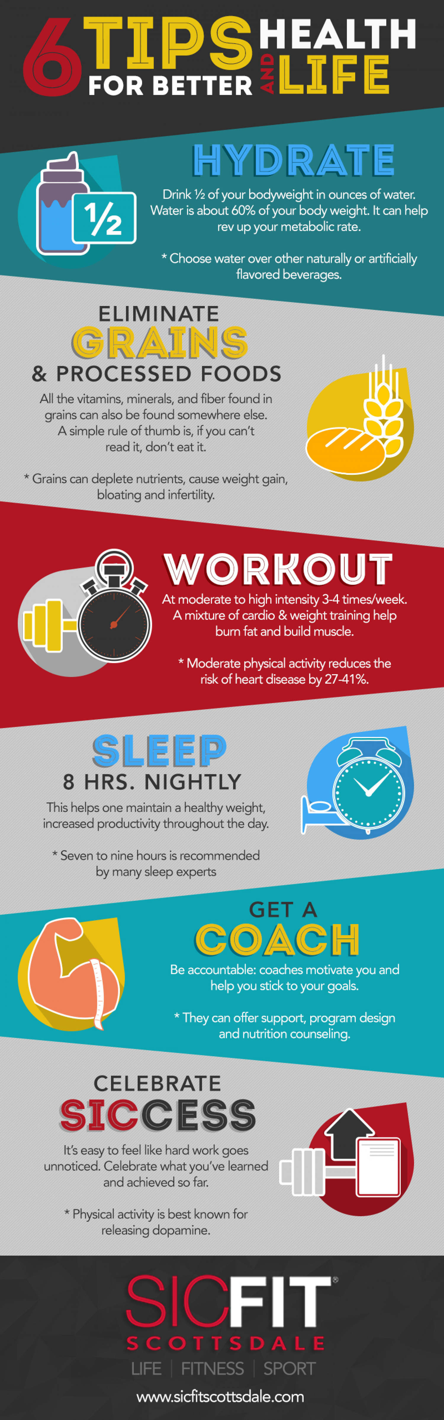 Six Tips For Better Health and Life Infographic