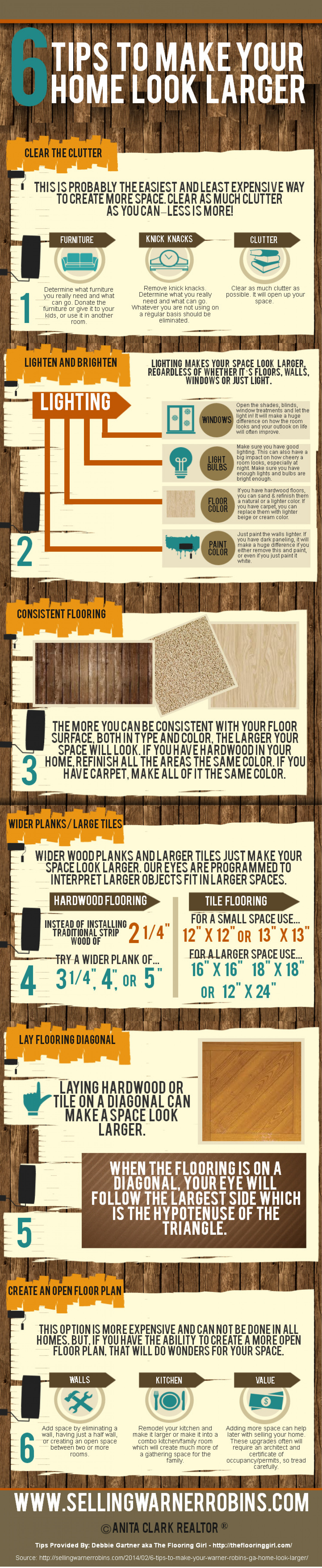 Six Tips To Make Your Home Look Larger Infographic