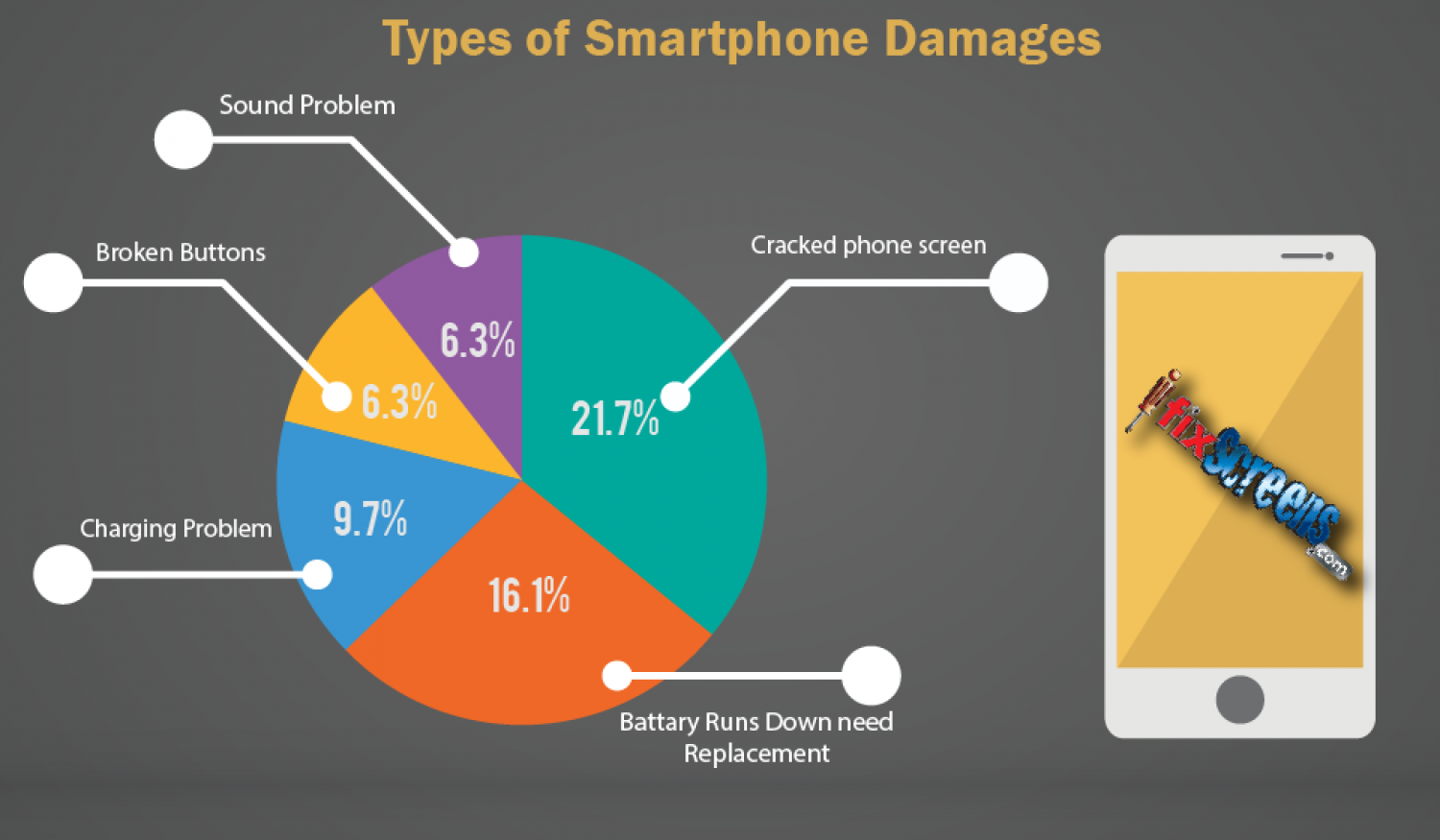Smartphones Damages Types Infographic