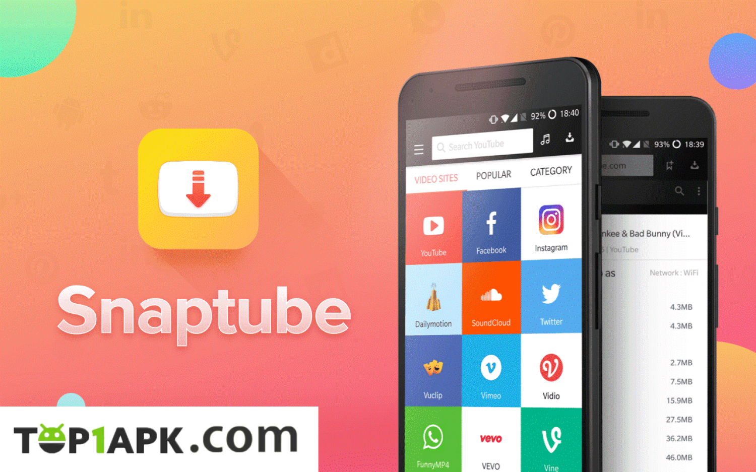 SnapTube APK - Download on Top1apk Infographic