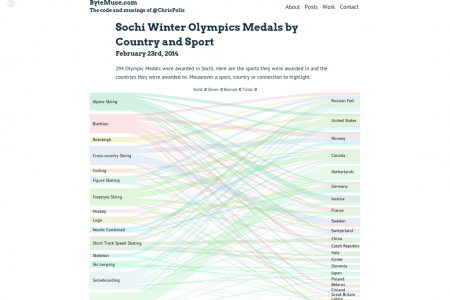 Sochi Winter Olympics Medals by Country and Sport Infographic