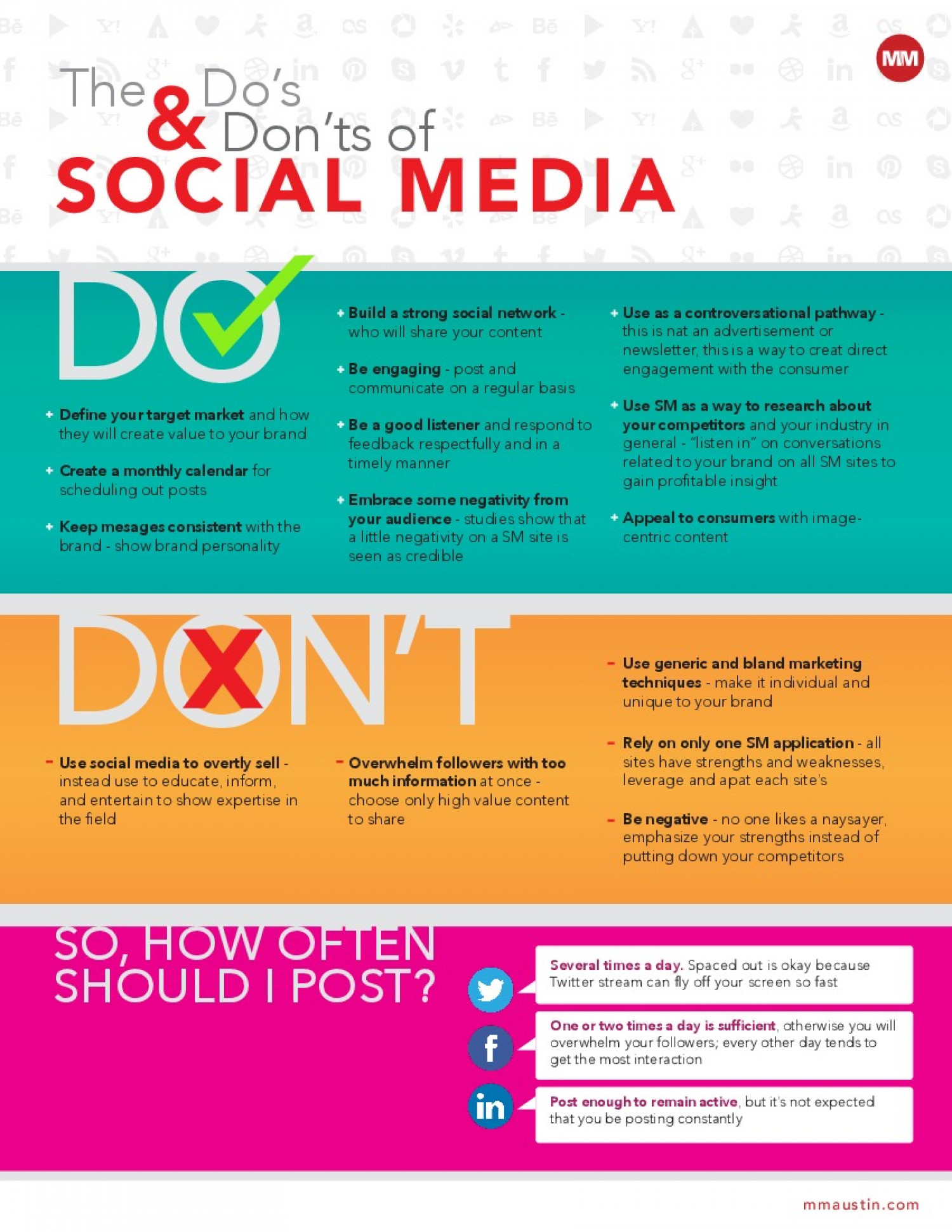 social media company dos and donts This guide, based on the recommendations of leading social media expert brian  solis,  business accounts are no place to share personal views unless they.