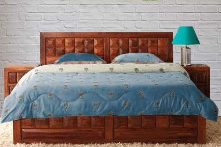 Solid Wood Caramel King Size Bed Infographic