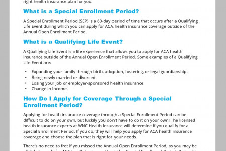 Special Enrollment Period 101 Infographic