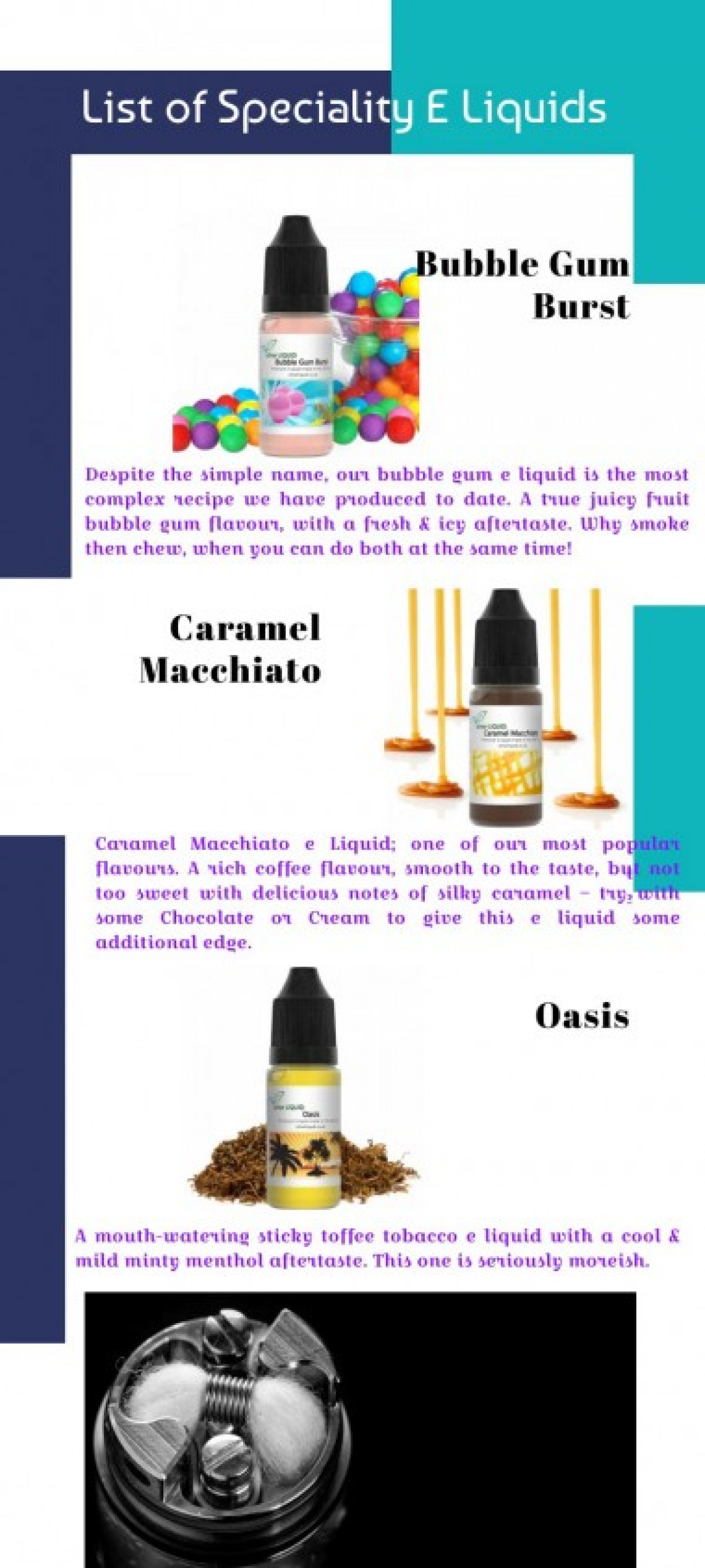 Specialty E liquid | 100% VG E Juices Made in the UK Infographic