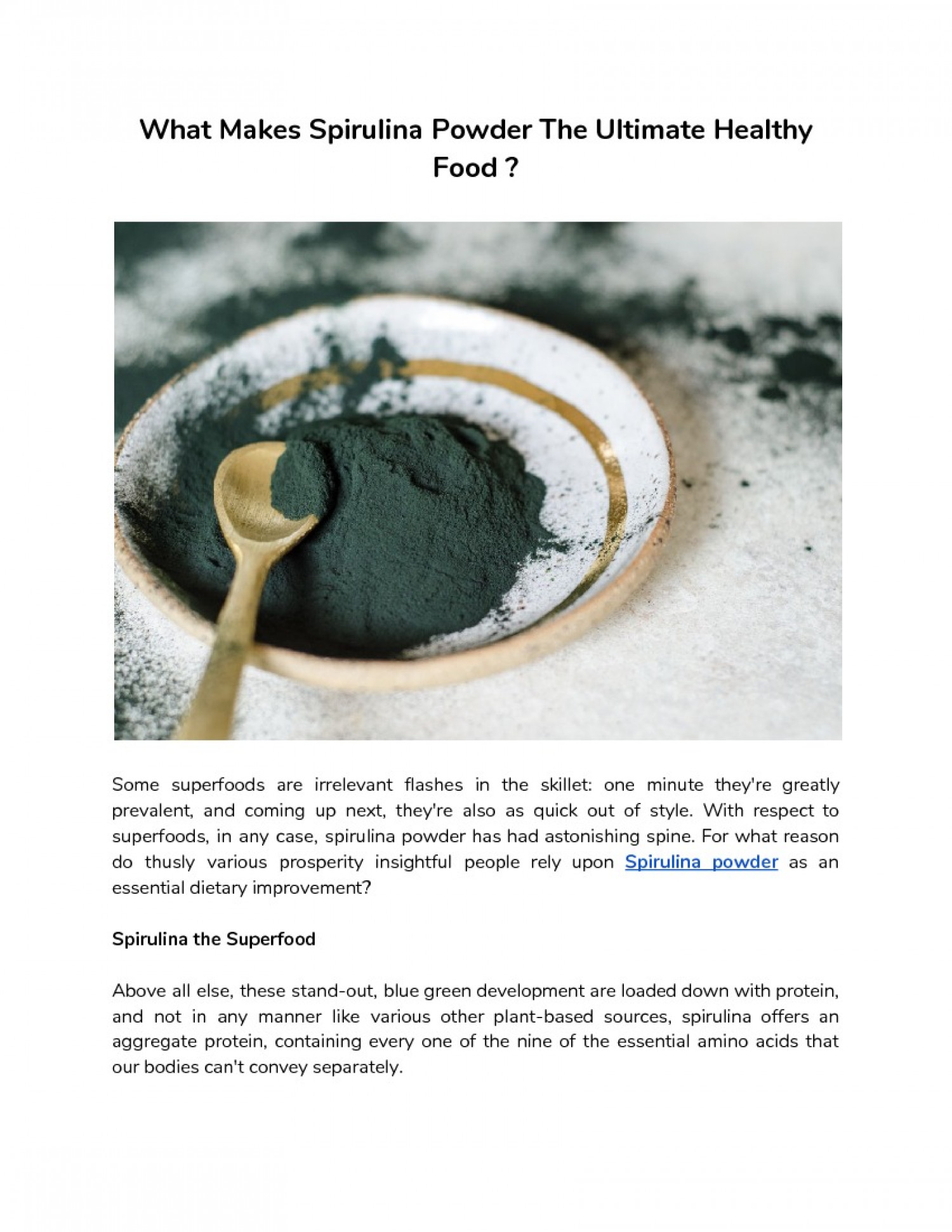 Spirulina - The First Choice Of Every Fitness Enthusiast  Infographic