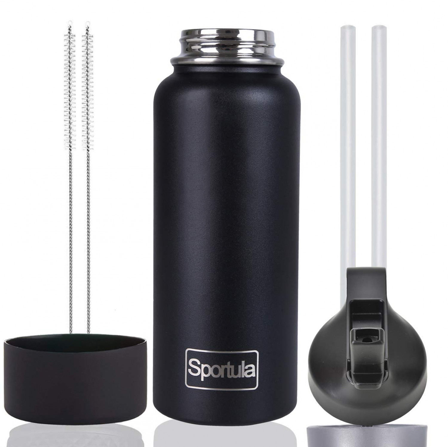 Sportula Water Bottle - Stainless Steel & Vacuum Insulated - Wide Mouth with Straw Lid - 2 Straws & 2 Brushes and 1 Protective Boot Infographic