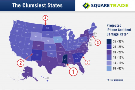 SquareTrade's: The Clumsiest States for iPhone Breakage Infographic