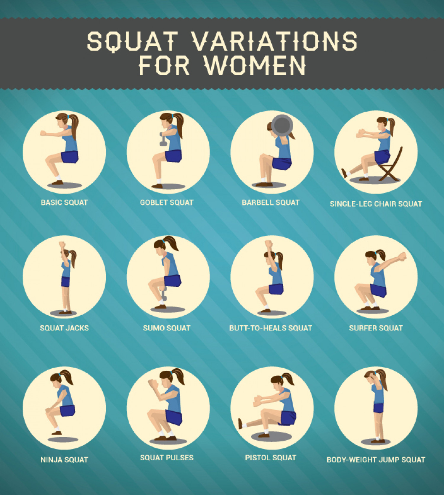Squat Variations for Women Infographic