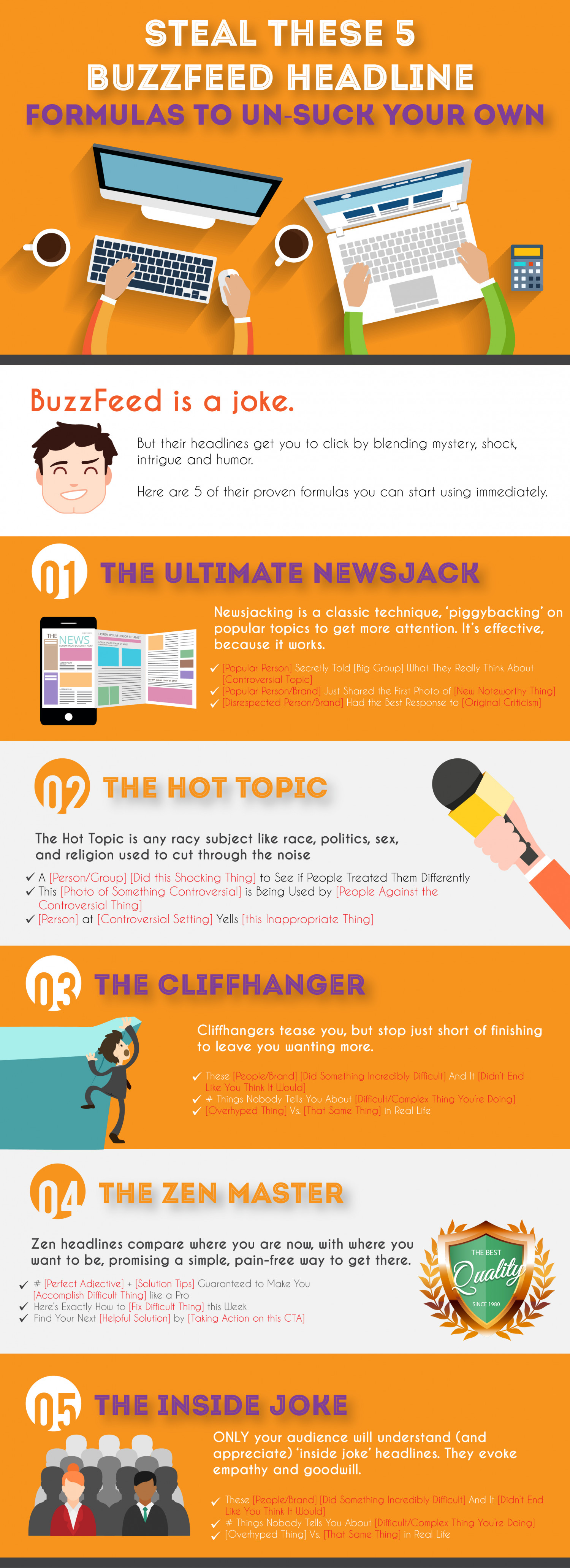 Steal these 5 Proven BuzzFeed Headline Formulas Infographic
