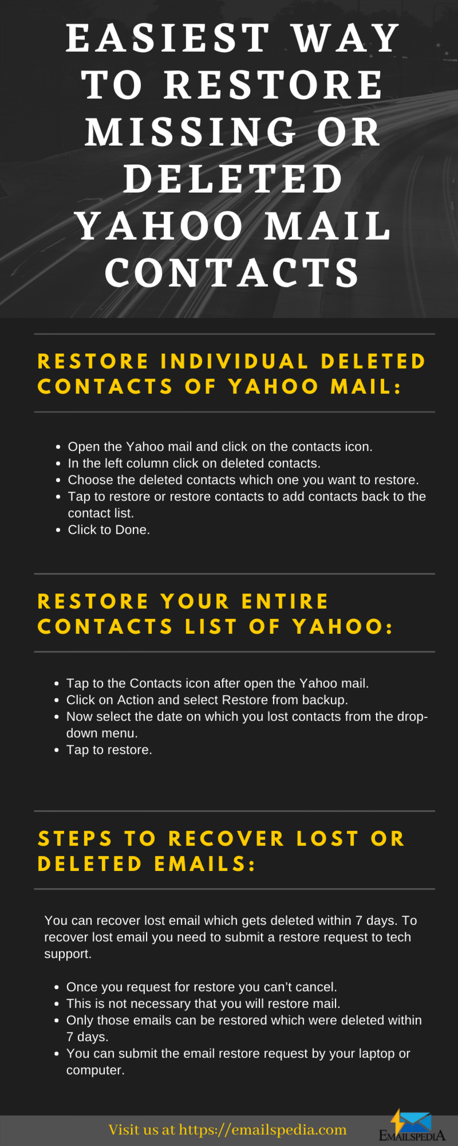 Steps to Restore Deleted Yahoo Mail Contacts!!! Infographic