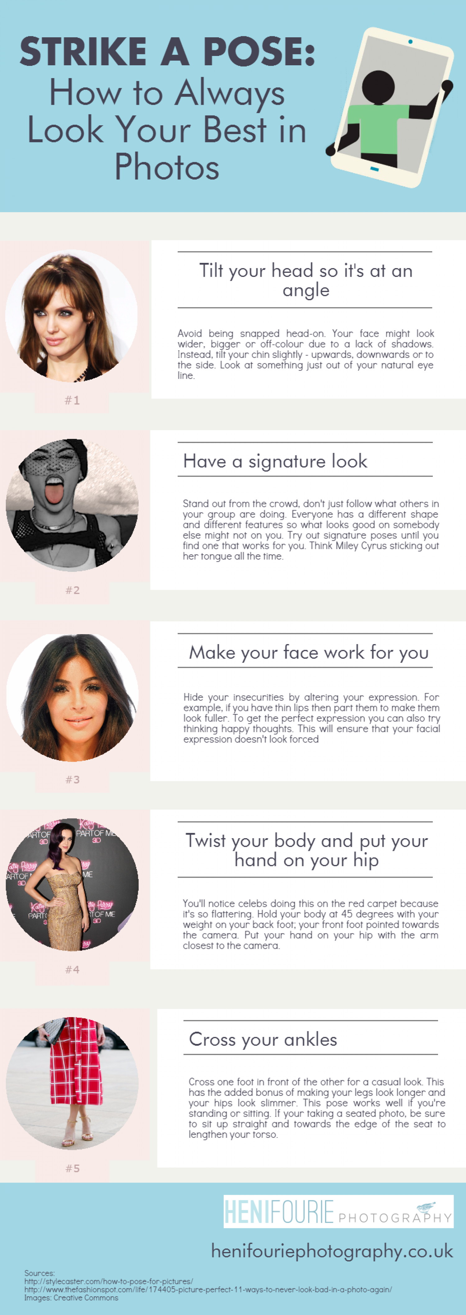 Strike a Pose: How to Always Look Your Best in Photos Infographic