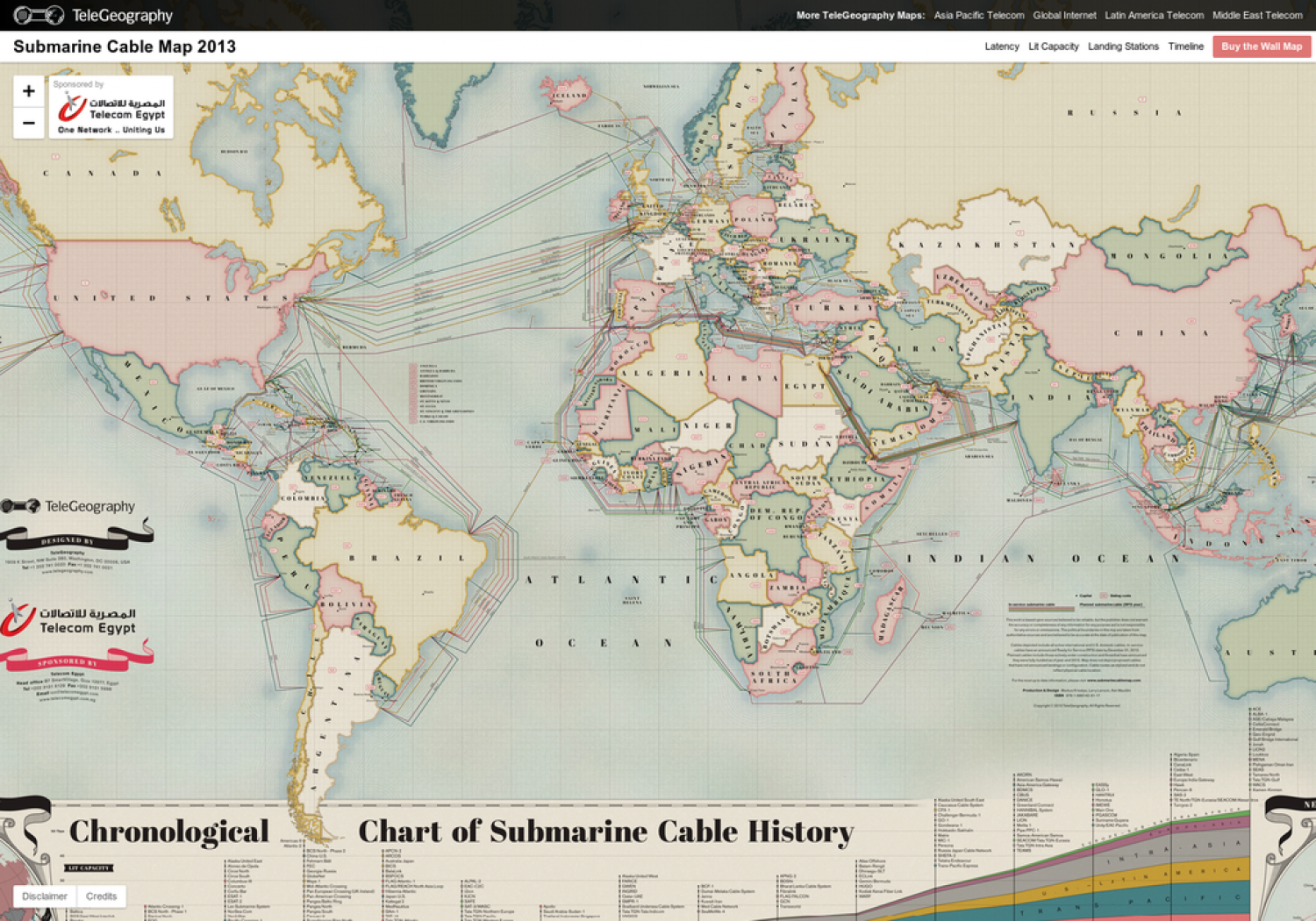 Submarine Cable Map 2013 | Visual.ly on underwater communication cables, eastward of sea routes map, underwater fiber optic cables, underwater pacific ocean map, pse kv transmission line map, napoli map,
