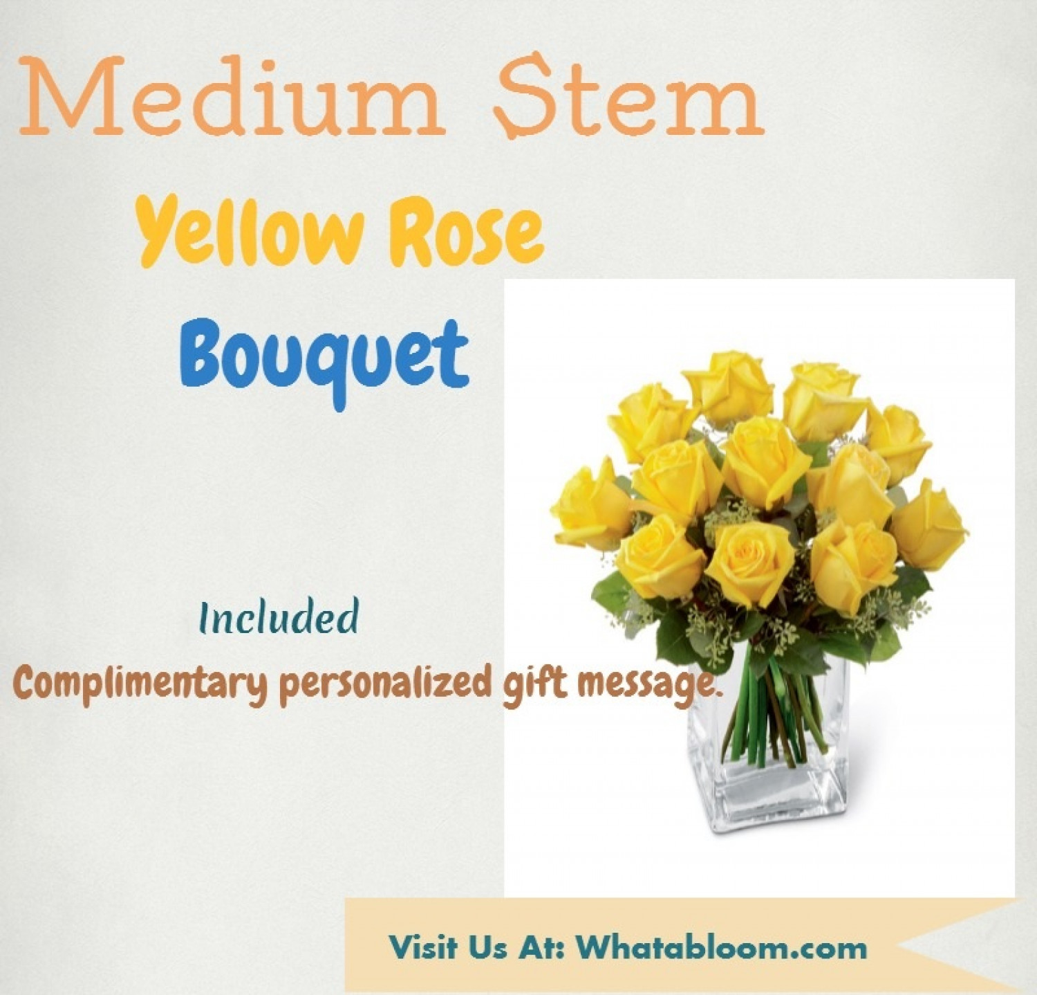 Summer flowers - Medium stem yellow rose bouquet Infographic