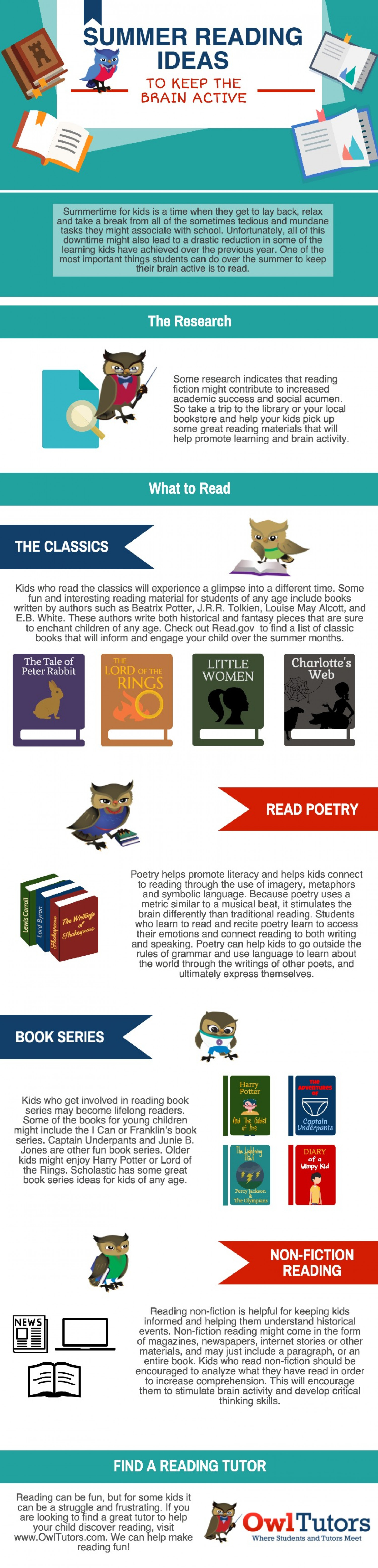 Summer Reading Ideas to Keep the Brain Active Infographic