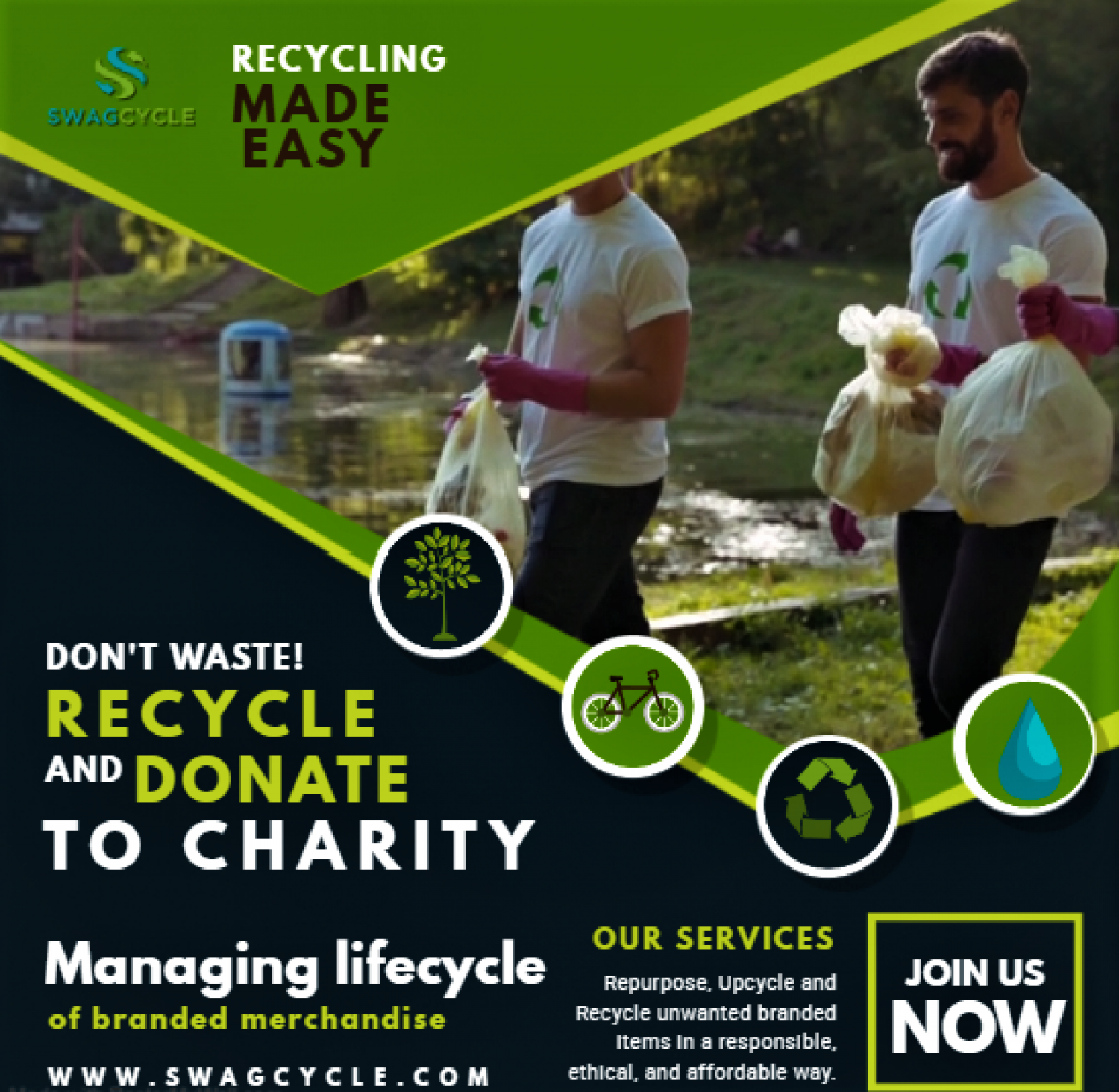 SwagCycle: Recycle Old Promotional Items Infographic