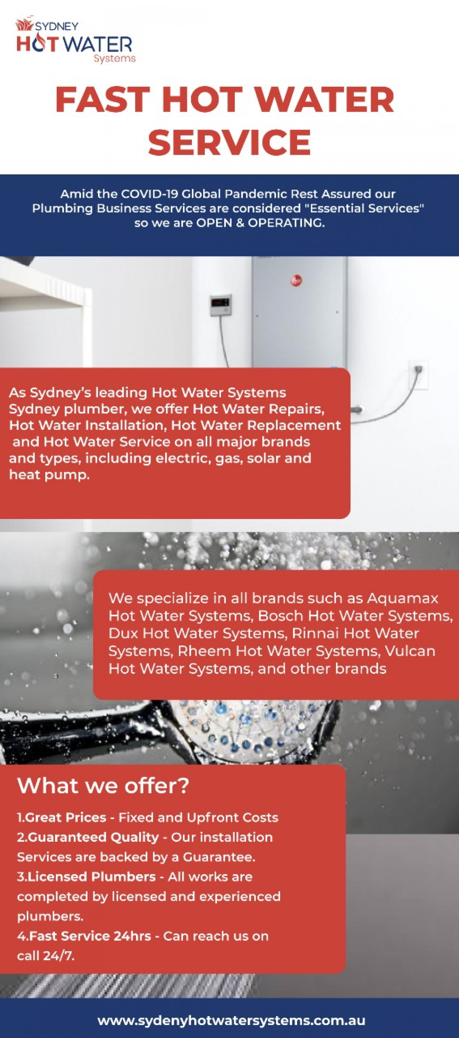 Sydney Heating Systems - Gas Hot Water Service Infographic
