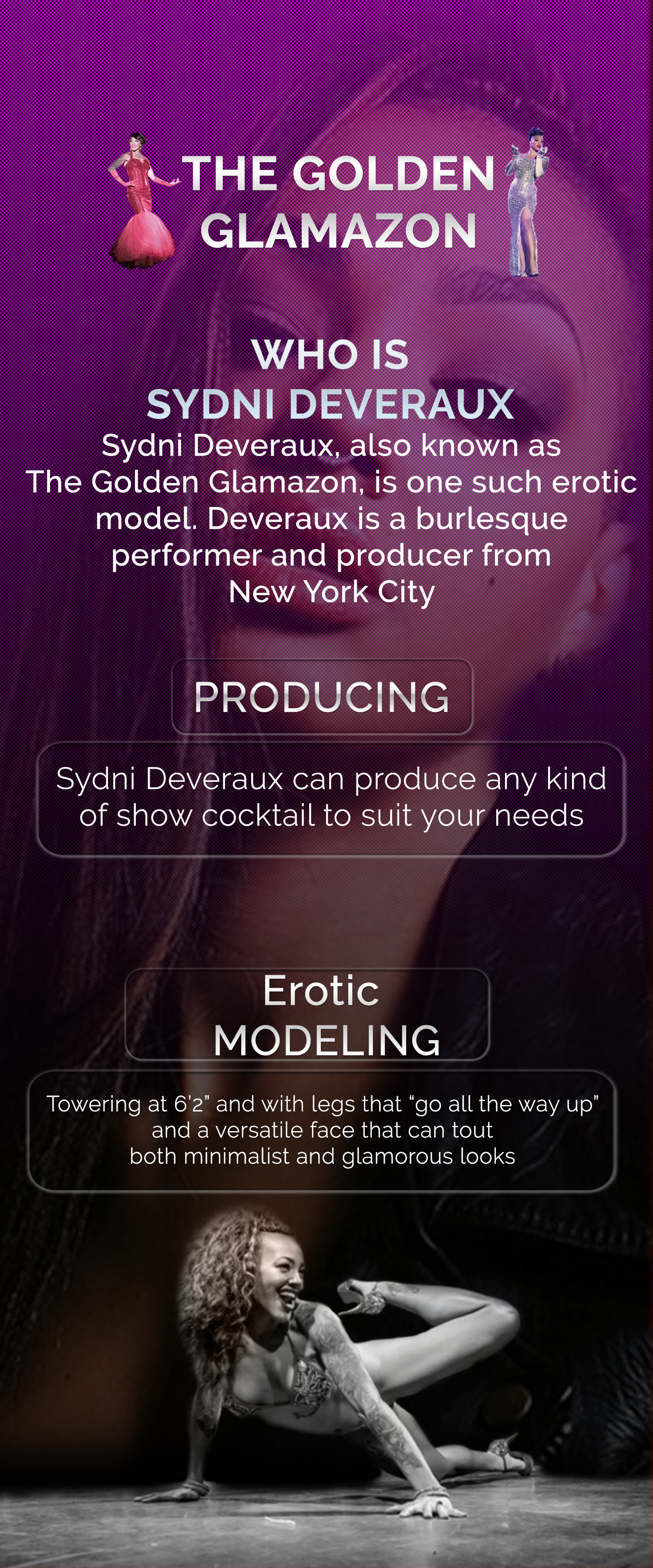 Sydni Deveraux The Golden Glamazon Infographic