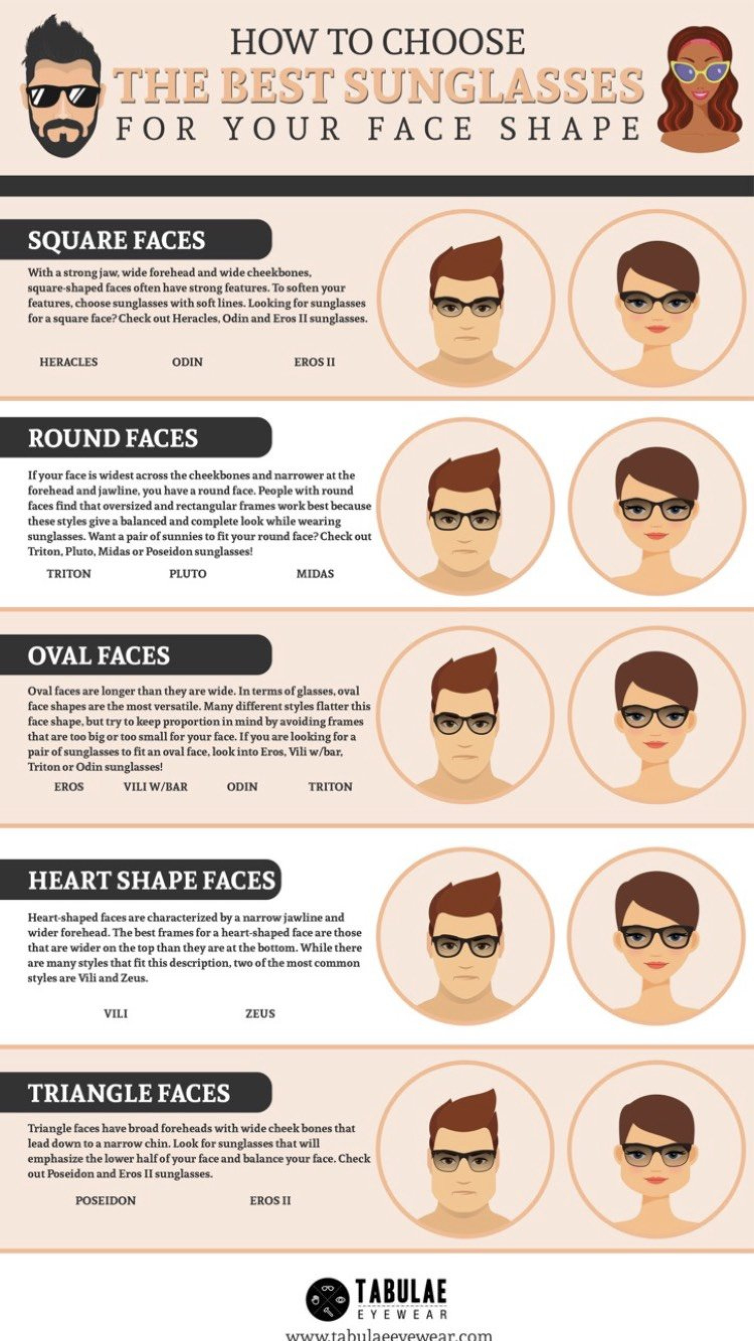 a56231136f Tabulae Eyewear - How to Choose the Best Sunglasses for Your Face Shape  Infographic