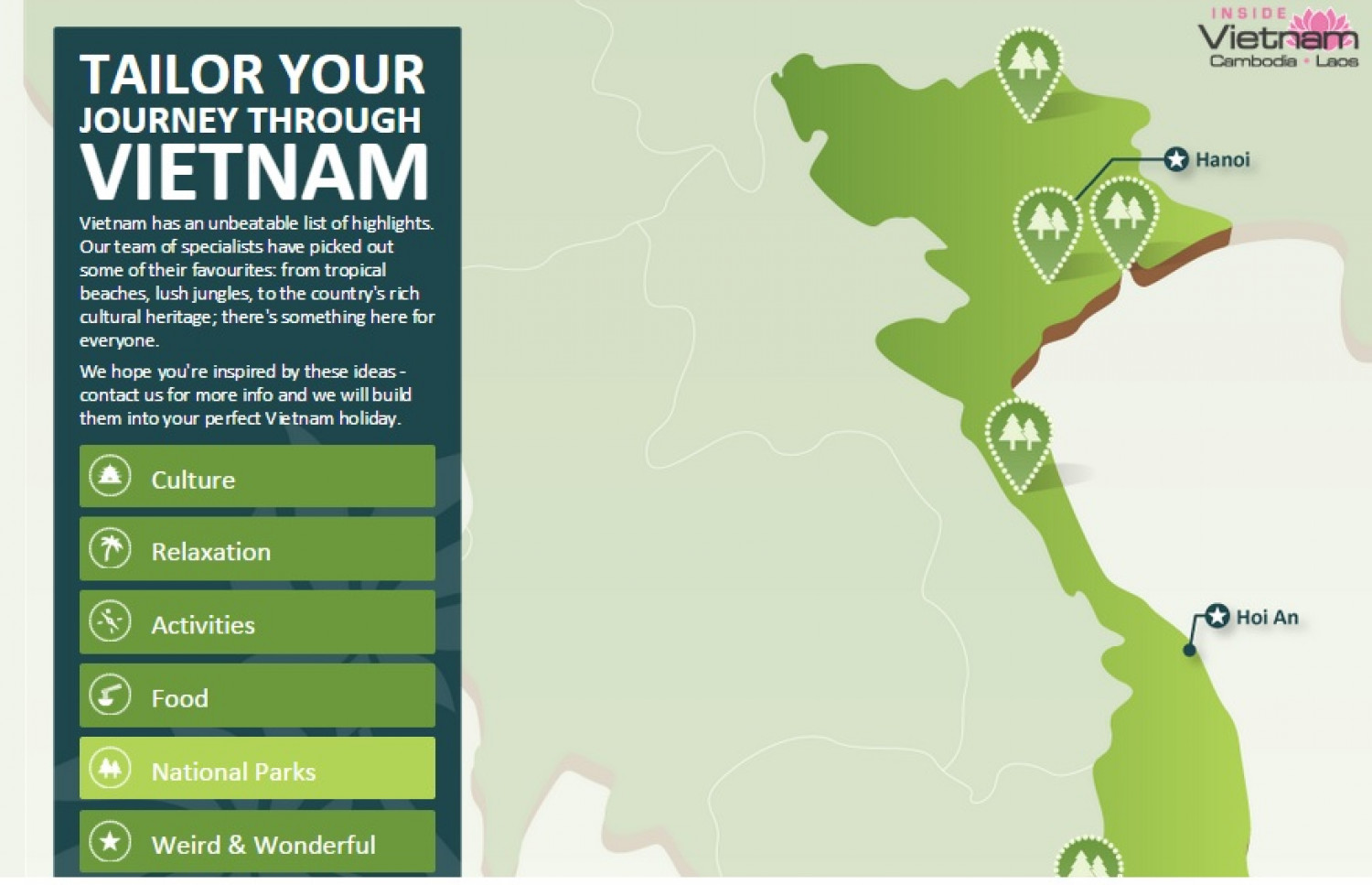 TAILOR YOUR JOURNEY THROUGH VIETNAM - INTERACTIVE MAP Infographic