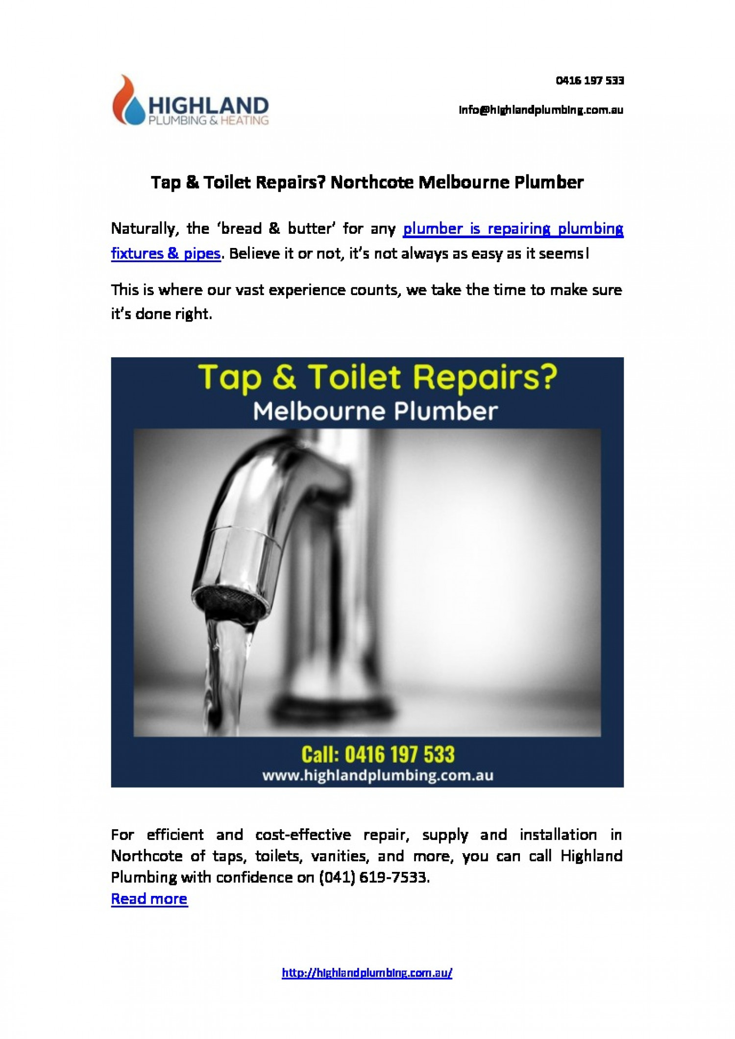 Tap & Toilet Repairs? Northcote Melbourne Plumber | Highland Plumbing Infographic