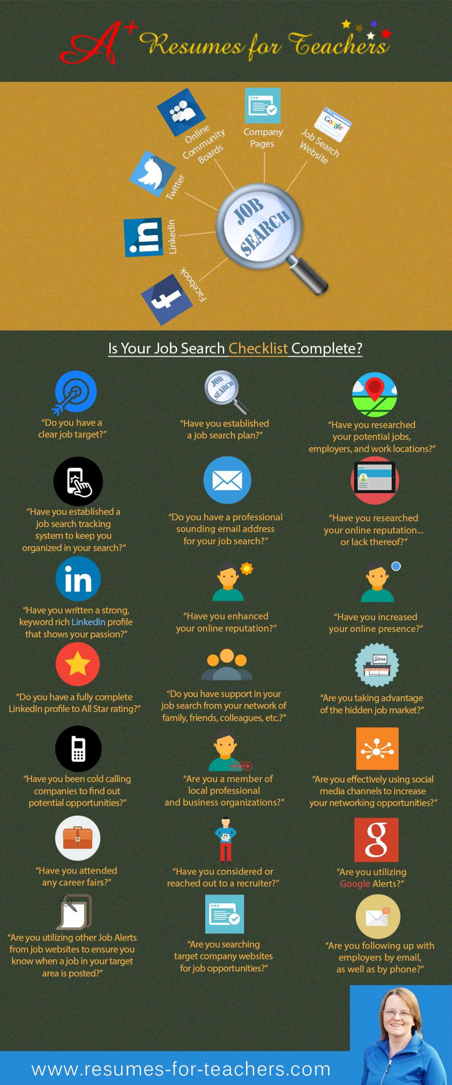 Teacher And School Administrator Career And Job Search Tips Infographic