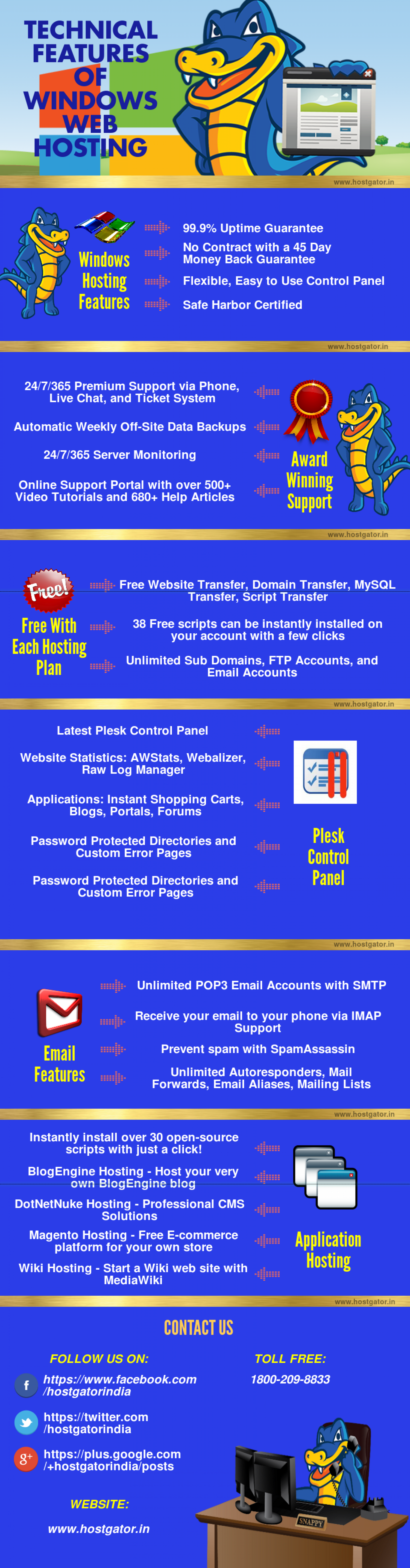 Technical Features of Windows Web Hosting Infographic